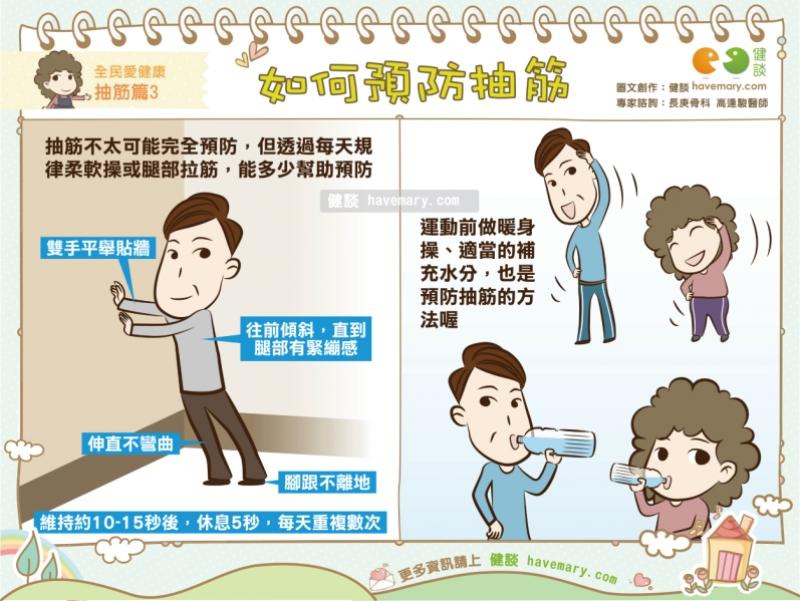 cramp,預防抽筋,抽筋,抽筋緩解,防抽筋,健康漫畫,健康圖文,健談,漫漫健康,健談網,havemary