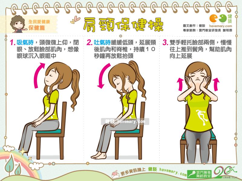 肩頸保健,肩頸僵硬,肩頸運動,打開身體用心玩,玩出生活5力,雲門教室,生活律動,健康圖文,健康漫畫,漫漫健康,圖解健康,Shoulder neck soreness,健談,健談網,havemary