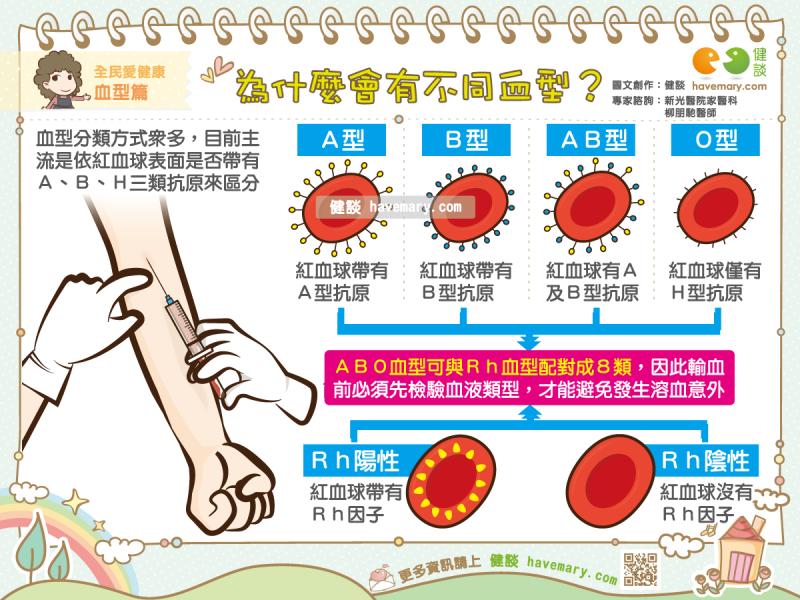 血型,血型差異,紅血球抗原,健康圖文,健康漫畫,漫漫健康,圖解健康,柳朋馳,柳朋馳醫師,Blood type, blood type difference, red blood cell antigen,健談,健談網,havemary
